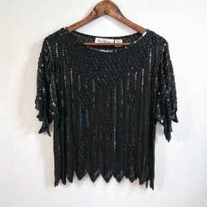 Tops - Ann Katrine Vintage Black Beaded & Sequin Blouse
